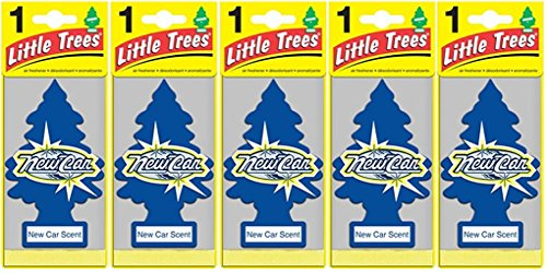 LITTLE TREES Car Air Freshener | Hanging Paper Tree for Home or Car | New Car Scent | 5 Pack
