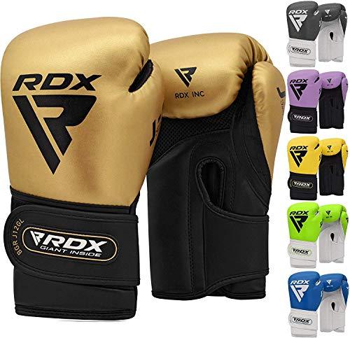 RDX Guantes de Boxeo Niño para Entrenamiento y Muay Thai | Convex Cuero Junior Mitones para Kick Boxing, Sparring | Kids Boxing Gloves para Saco Boxeo, Training