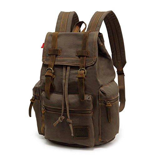 Koolehaoda® Mochila de hombro de cuero de lona casual vintage Mochila mochila Bolsa de senderismo (Verde del ejército)