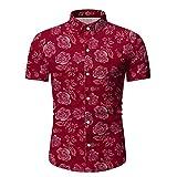 Shirt Hawaiana Hombre Botón Verano Tapeta Cuello Kent Camisa Hombre Transpirable Ajustada con Estampado Moda Manga Corta Hombre Camisa Casual Negocios Hombre Shirt Playa