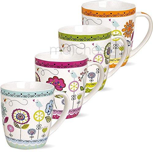 matches21 Tassen Becher Kaffeetassen bunte Blumen orange grün violett blau Porzellan 4er 10 cm 350 ml - mit & ohne Tassenhalter
