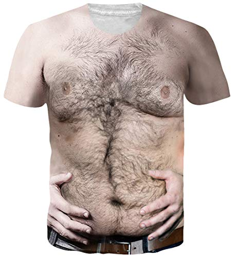Loveternal Männer Hairy Chest T Shirt 3D Muster Gedruckt Casual Grafik Kurzarm Tops Tee XL