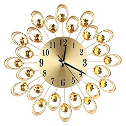 Flower Clock European Style Mute Iron Art Wall Clock with Bttery for Home Office(Gold)