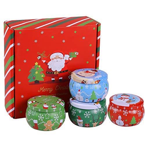 Kakacoo Duftkerzen Set, natürliches Sojawachs, Aromatherapie-Kerzen, 4 dekorative Kerze Geschenkset für Yoga,Weihnachten, Geburtstag, Valentinstag