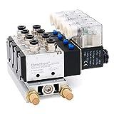 Heschen Electroválvula neumática 4 solenoide 4V210-08 DC 24V PT1/4 5 vías 2 posiciones manifold base silenciador rápido conjunto