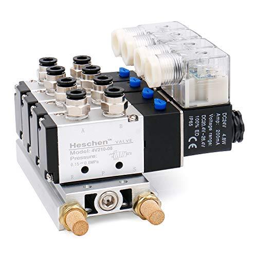 heschen Elektro-Pneumatische 4Magnetventil 4V210–08DC 24V PT1/45Way 2Position vielfältige Boden Schalldämpfer Quick Fittings Set