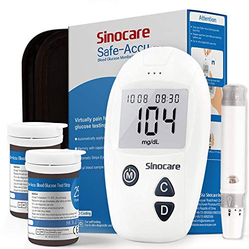 Blutzuckermessgerät - Safe Accu - mit deutscher Bedienungsanleitung - mit 50 Blutzucker Teststreifen für Diabetes Codefrei mg/dL