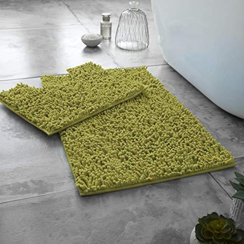 GAVENO CAVAILIA Ultra Soft 2 Piece Loop Bath Mat Anti Slip Pedestal Set,...