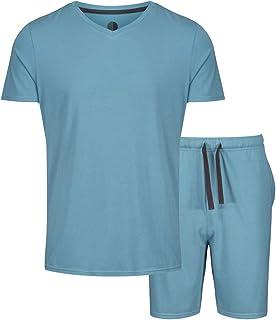 Light & Shade Mens Modal V Neck Top and Short Bottoms Pyjama Set, Blue, Large