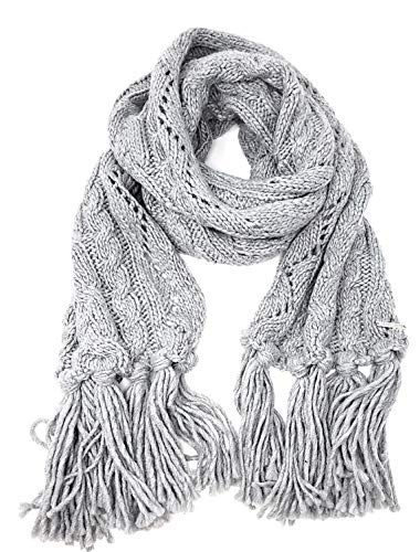 Michael Kors Womens Cable Knit Fringe Scarf (Pearl Heather Grey)