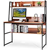 Tangkula Computer Desk with Hutch & Bookshelf, 47 Inches Space Saving Writing Study Table Home Office Desk, PC Laptop Table Workstation with w/ 3 Open Storage Space & Bottom Bookshelf (Brown)