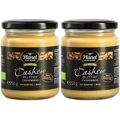 Planet Plant-Based Beurre de Noix de Cajou, bio, végan, sans gluten. 2 pots (2x250g), sans huile de palme, 100% en noix de cajou biologiques légèrement grillées - Consistance tendre et crémeuse