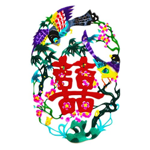 Black Temptation 4PCS Chinese Traditional Art Paper Cut Décor Collection colorée Souvenir-A25