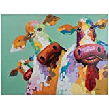 Yosemite Home Decor ARTAC0583C Curious Cows Acrylic Painting, 48-Inch