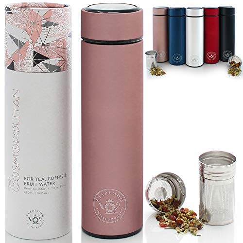 Teabloom All-Purpose Beverage Tumbler | Oprah's Favorite | 16oz/480ml - Brushed Metal Insulated Water Bottle/Tea Flask/Cold Brew Coffee Mug - Extra-Fine Two-Way Infuser Travel Bottle - Rose Gold
