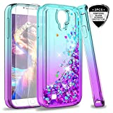 S4 Case, Galaxy S4 Glitter Case with Tempered Glass Screen Protector [2 Pack] for Girls Women, LeYi Bling Sparkle Diamond Liquid Quicksand Flowing Cute Phone Case for Samsung Galaxy S4 ZX Teal/Purple