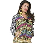 Funny Fashion Disfraz de Mujer 80s 90s, Blouson Chaqueta Rapero Hip Hop Animal Print Colorido Carnaval (44/46)