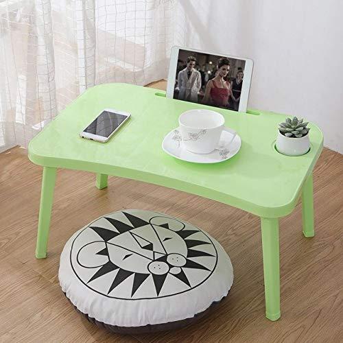 LGFSG Mesa para Ordenador Mesa Plegable para computadora portátil Bandeja de Cama para Desayuno Ajustable Plegable con Tapa abatible y Patas Soporte de Escritorio para computadora, Verde