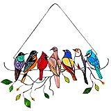 WFRAU Kristall-Sonnenfänger Grüner Kolibri Anhänger Glasmalerei Vogel glasvögel Ornamente Hängen buntglas Fensterbild hängender Kronleuchter Prisma Regenbogenhersteller Ornament für Fenster