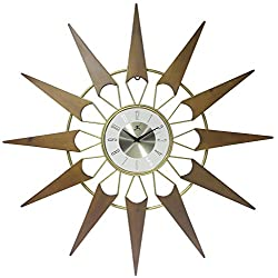 Infinity Instruments Nova Mid-Century Modern Gold/Wood 30.5 inch Large Wall Clock | Wood & Metal Mid Century Modern Look | Vintage Retro Design | Quartz Movement Unique Starburst Nova Look