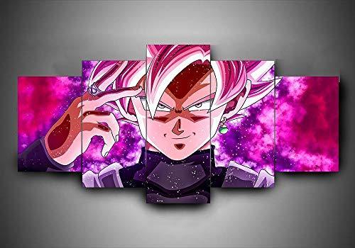 HJYT Cuadro Moderno En Lienzo,Goku Black Super Saiyan Rose Anime HD Abstracta Pared Modulares Sala De Estar Impresión Artística Dormitorios Decoración De Pared Enmarcado-150x80CM