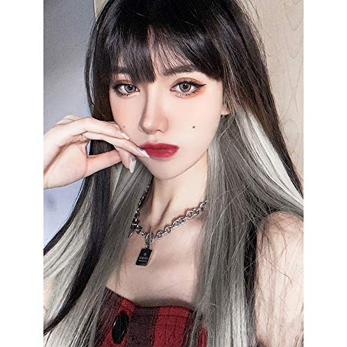 ENTRANCED STYLES Long Straight Wig with Bangs Black Wigs for Women Synthetic Wig Fashion Heat Resistant Fiber Wig Natural Looking Daily Party Cosplay Wig