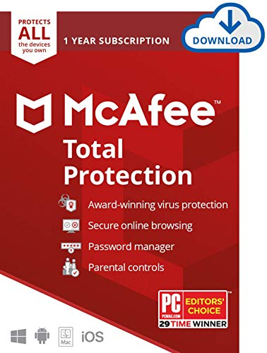 Amazon.com: McAfee Total Protection 2021 Unlimited Devices, Antivirus Internet Security Software Password Manager, Parental Control, Privacy, 1 Year - Download Code: Software