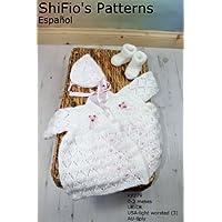 patrón para dos agujas – KP279 -  chaqueta matinée, sombrero  y botitas/patucos para bebé