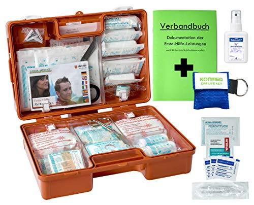 Erste Hilfe Koffer M2 PLUS für Betriebe DIN 13157 / EN 13157 von WM-Teamsport - incl. Notfall-Beatmungshilfe + Verbandbuch & Hände-Antisept-Spray
