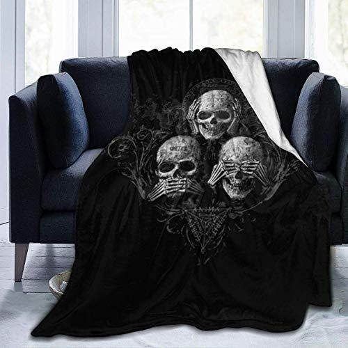 Fleece Decke Totenköpfe Kopf Gothic Tag der Toten Flanell Ultra-Soft Decke Dekor Soft Warm Throws Decken Durable Bett Couch,50X40 In