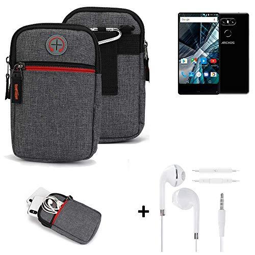 K-S-Trade® Gürtel-Tasche + Kopfhörer Für -Archos Sense 55 S- Handy-Tasche Schutz-hülle Grau Zusatzfächer 1x