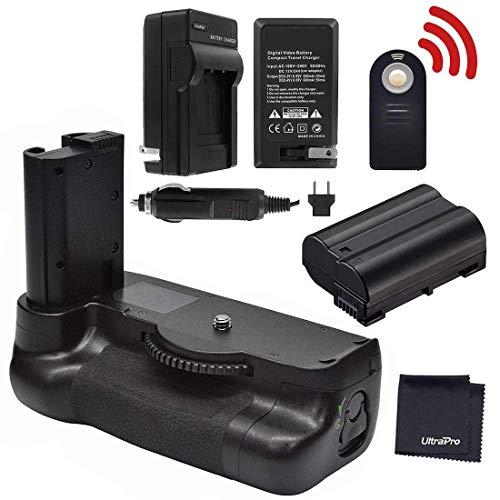 Battery Grip Bundle for Nikon D7500: Includes MB-D18 Replacement Grip, EN-EL15 Long-Life Battery, Travel Charger, UltraPro Accessory Bundle