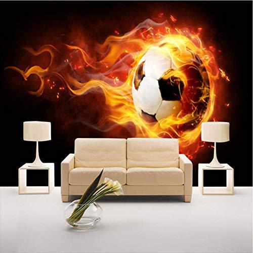 Hwhz Benutzerdefinierte Fototapete 3D Stereoscopic Football Flame Großes Wandbild Ktv Bar Cafe Wohnzimmer Sofa Hintergrund Tapetenrolle-200X140Cm