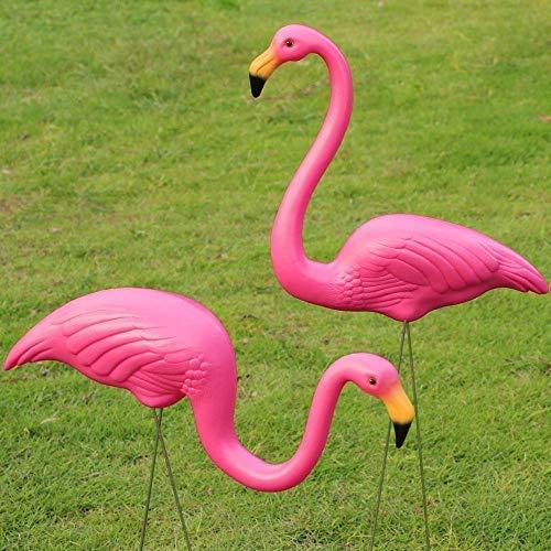 HomeZone 2pcs Plastique Flamant Rose Jardin Ornements Pelouse Oiseau Figurine Flamingo Statue Sculpture Garden-Party Rose Décoration Jardin