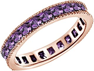 Jewel Zone US Square Cut Simulated Amethyst Wedding Band Ring in14k Gold Over Sterling Silver