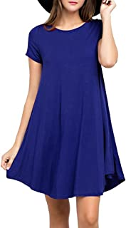 LILBETTER Women's Short Sleeve Casual Swing Loose T-Shirt Dress