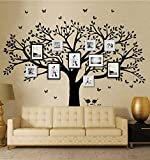 LSKOO Family Photo Frame Tree Wall Decals Family Tree Decal Living Room Home Decor (108' Wide x 84' Tall) (Black)