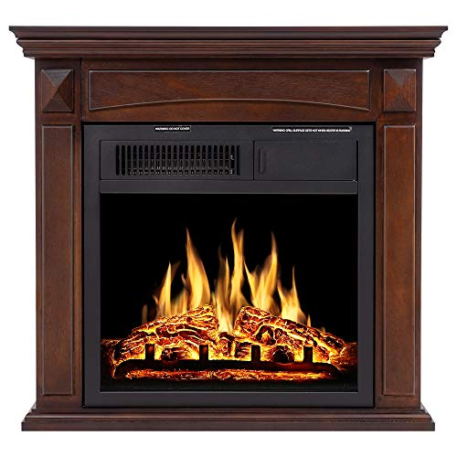 JAMFLY Electric Fireplace Mantel Package Wood Surround Firebox Freestanding Corner Fireplace Infrared Quartz Heater Adjustable Led Flame, w/Logs, Remote Control, 750W-1500W, Brown electric Fireplaces