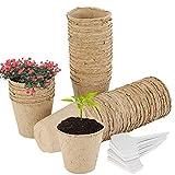 50Pezzi/8cm Vasi Biodegradabili da Giardino Rotondi Vasi in Fibra Vasetti di Torba con 100 Etichette per Piante per Piantine/Semi/Fiori/Giardinieri/Botanici