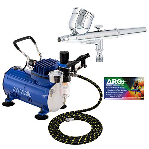 Product Image of the Master Airbrush Multi-purpose Gravity Feed Dual-action Airbrush Kit with 6 Foot Hose and a Powerful 1/5hp Single Piston Quiet Air Compressor