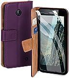 moex Handyhülle für Nokia Lumia 630/635 - Hülle mit Kartenfach, Geldfach & Ständer, Klapphülle, PU Leder Book Hülle & Schutzfolie - Lila