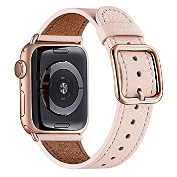 MNBVCXZ Compatible with Apple Watch Band 38mm 40mm 42mm 44mm Women Men Girls Boys Genuine Leather Replacement Strap for iWatch Series 6 5 4 3 2 1 iWatch SE  Pink Sand/Rose gold 38mm 40mm