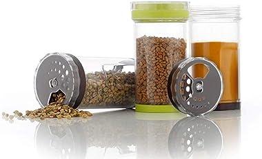 Anjali 12 Jar Multipurpose Revolving Plastic Spice Rack, 12 Piece Condiment Set 125 ml Round Shap Spice Rack, Spice Rack Cont
