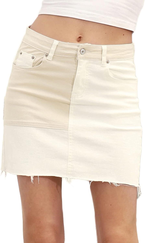 GRACE KARIN Women's High Waisted Jean Skirt Color Block Patchwork Denim Skirt with Pockets