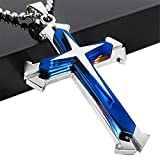 Brave Tour Men Titanium Steel Cross Necklace (Blue)