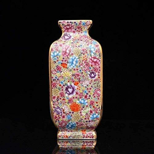 Vaas decoratie Enamel Kleurrijke bloemen en vogels vierkante vaas Antique Home Decoration Porselein Decoratie Collection