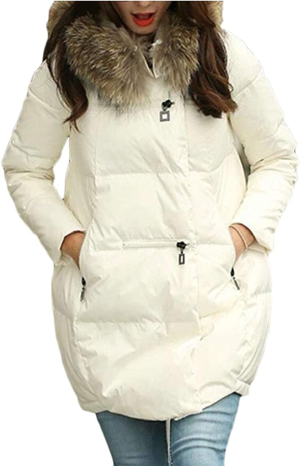 Maweisong Women Down Coat Faux Fur Hooded Overcoats Parka Puffer Jackets