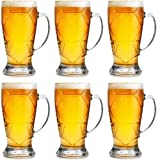 Maredash Beer Mugs ,14oz Glass Beer Mugs With Handle,Large Beer Glass Freezer Safe,Classic Beer Glasses for Men (Set of 6)