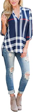 Camisas Mujer Manga Larga Originales Tallas Grandes Tops A Cuadros Fiesta Fashionista Elegantes Blusones V Cuello Otoño Anchas Basicas Blusas Casual ...