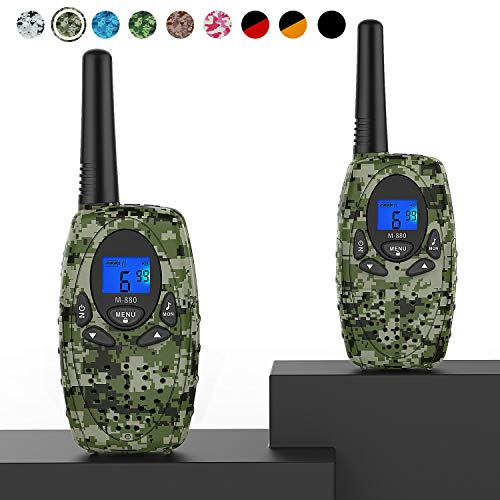 Two Way Radios Camping Accessories, Topsung M880 FRS Walkie Talkies for Adults Long Range with Mic LCD Screen/Portable Wakie-Talkie with 22 Channel for Children Hiking Hunting Fishing (Camo 2 in 1)